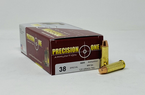 Precision One 38 Special Ammunition PONE151 125 Grain Full Metal Jacket 50 Rounds