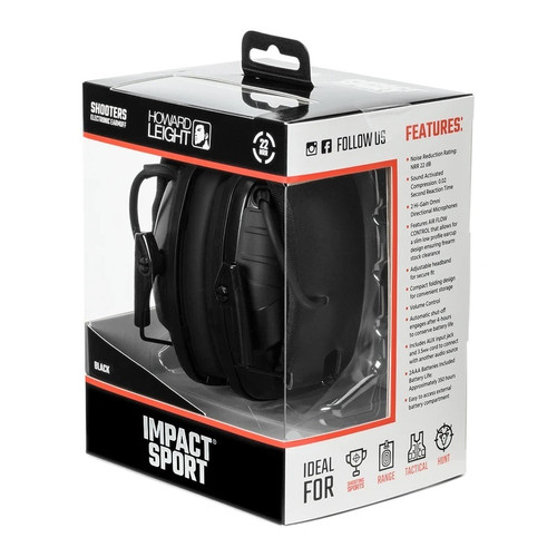 Howard Leight Impact Sport Shooters Electronic Earmuff R-02524 22 NRR