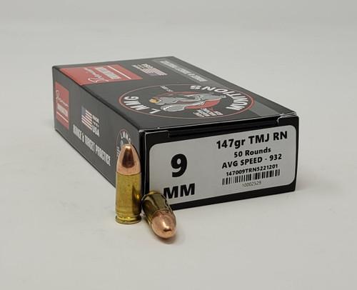 Lake Martin Machine Gun 9mm *REMAN* Ammunition LMMG9MM147TMJ 147 Grain Total Metal Jacket 50 Rounds