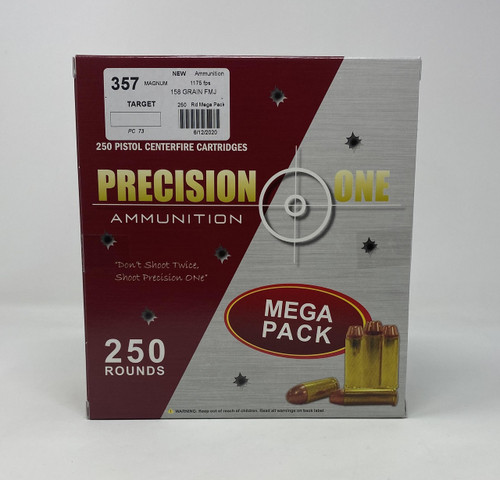 Precision One 357 Ammunition PONE73 158 Grain Full Metal Jacket 250 Rounds