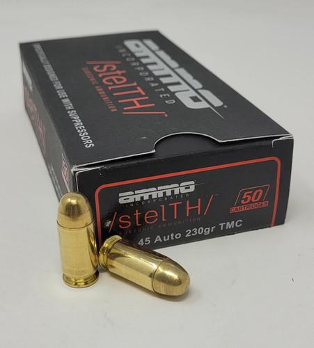 Ammo Inc Stelth 45 Auto Ammunition AI45230TMCSTL 230 Grain Subsonic Total Metal Jacket 50 Rounds