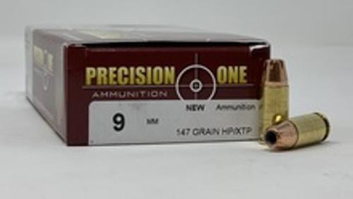 Precision One 9mm Ammunition 147 Grain Hollow Point/XTP 50 Rounds