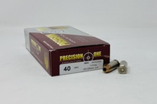 Precision One 40 S&W Ammunition PONE87 165 Grain Jacketed Hollow Point 50 Rounds