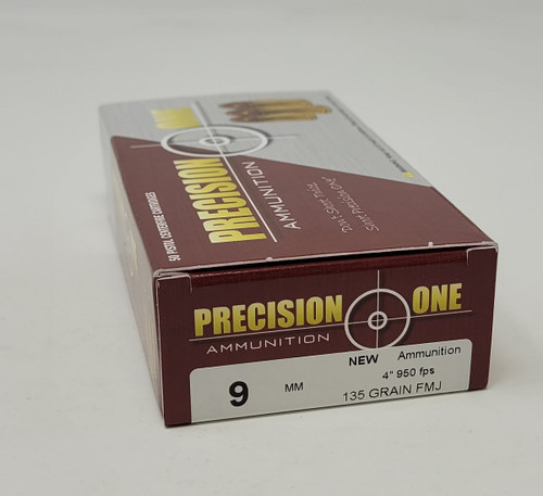 Precision One 9mm Competition Ammunition PONE1364 135 Grain Full Metal Jacket 50 Rounds