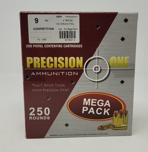 Precision One 9mm Competition Ammunition PONE1365 135 Grain Full Metal Jacket Mega Pack 250 Rounds