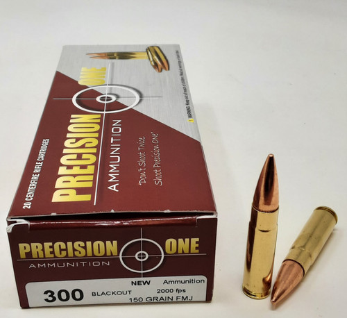 Precision One 300 Blackout 150 Grain Full Metal Jacket PONE211 20 Rounds