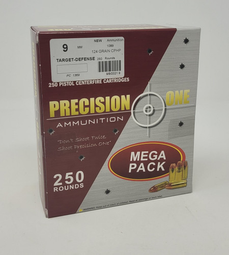 Precision One Target-Defense 9mm Ammunition PONE1369 124 Grain Copper Plated Hollow Point Mega Pack 250 Rounds