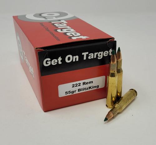 On Target .222 Rem Ammunition OT222BK55R 55 Grain Blitz King 50 Rounds