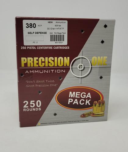 Precision One 380 Auto Ammunition PONE2 90 Grain XTP Hollow Point Mega Pack 250 Rounds
