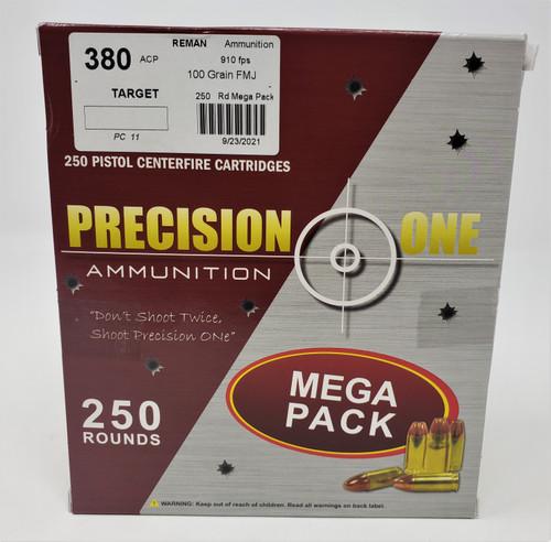Precision One 380 ACP *REMAN* Ammunition PONE11 100 Grain Full Metal Jacket 910fps 250 Round Mega Pack