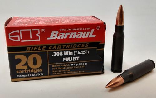 Barnaul 308 Win Ammunition BARN308WIN168FMJ 168 Grain Full Metal Jacket Boat Tail 20 Rounds