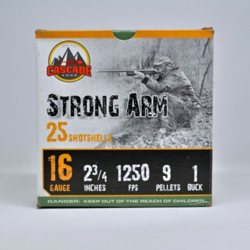 """Cascade 16 Gauge Ammunition CI161B 2-3/4"""" 9 Pellets 1B 25 Rounds"""