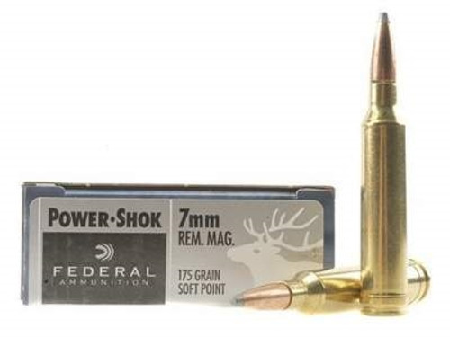 Federal 7mm Rem Mag Ammunition Power-Shok F7RB 175 Grain Soft Point 20  rounds