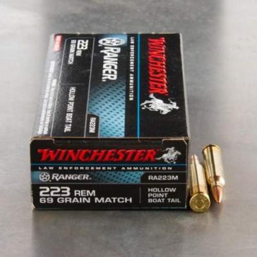 winchester 223 rem ranger ra223m match 69 gr bthp 20 per box