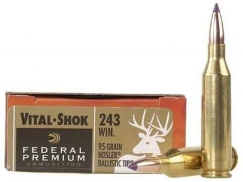 Federal 243 Win Ammunition Vital-Shok P243J 95 Grain Nosler Ballistic Tip  20 rounds