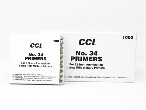 CCI Primers No. 34 7.62mm Large Rifle 0002 Brick of 1000 Count