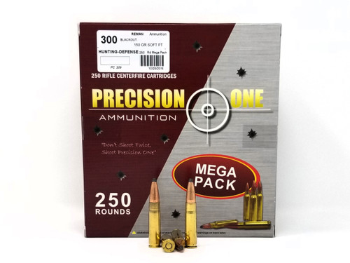 Precision One 300 AAC Blackout Ammunition 150 Gr Soft Point REMAN Mega Pack of 250 Rounds