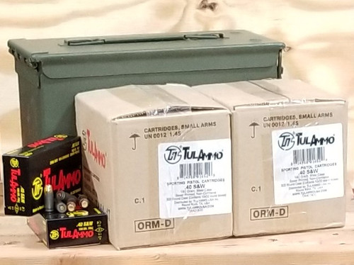 Bundle Tula 40 S&W Ammunition TA401800CAN 180 Grain Full Metal Jacket Inside US Surplus Ammo Can 1000 Rounds