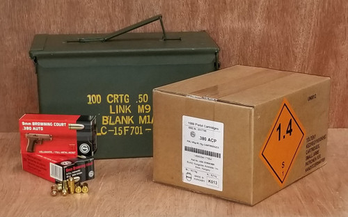 Bundle Geco 380 Auto Ammunition GE270540050CAN 95 Grain Full Metal Jacket Inside US Surplus Ammo Can 1000 Rounds