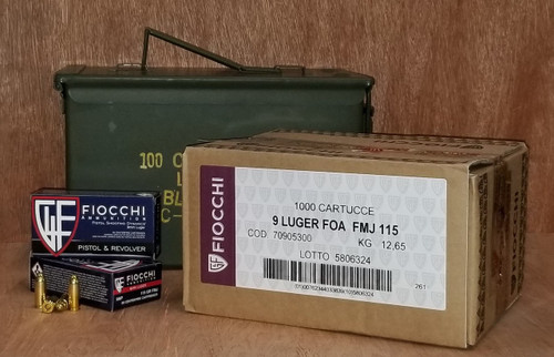 Bundle Fiocchi 9mm Ammunition Shooting Dynamics 9AP 115 Grain Full Metal Jacket Inside US Surplus Ammo Can 1000 Rounds