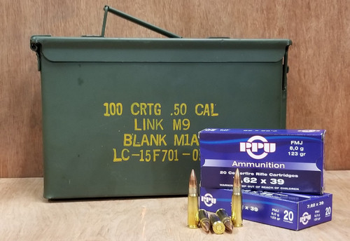 Bundle  Prvi PPU 7.62x39mm Ammunition PP732 123 Grain Full Metal Jacket Inside US Surplus Ammo Can 600 Rounds