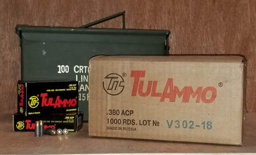 Bundle of Tula 380 ACP Ammunition TA380910CAN 91 Grain Full Metal Jacket Inside US Surplus Ammo Can 1000 Rounds