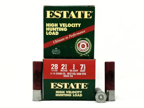 """Estate 28 Gauge Ammunition High Velocity Hunting Loads HV2875 2-3/4"""" 7.5 Shot 3/4oz 1295fps Case of 250 Rounds"""