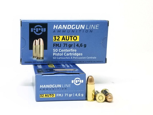 Prvi PPU 32 ACP Ammunition PPH32AF 71 Grain Full Metal Jacket 50 Rounds