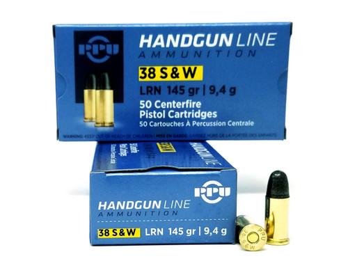 Prvi PPU 38 S&W Ammunition PPH38SW 145 Grain Lead Round Nose 50 Rounds