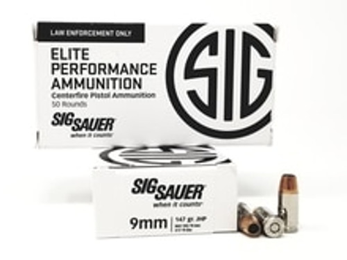 Sig Sauer 9mm Ammunition Elite 147 Grain VCrown Hollow Point 50 rounds