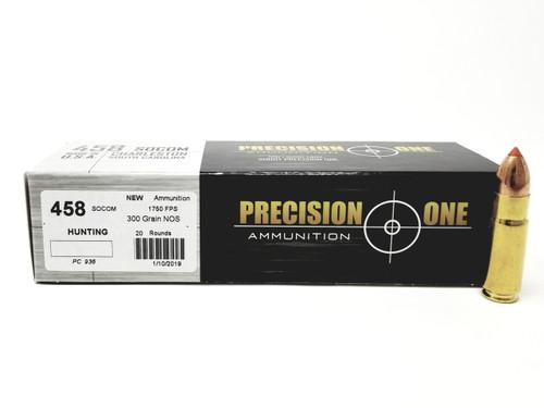 Precision One 458 SOCOM Ammunition 300 Grain Nosler 20 Rounds