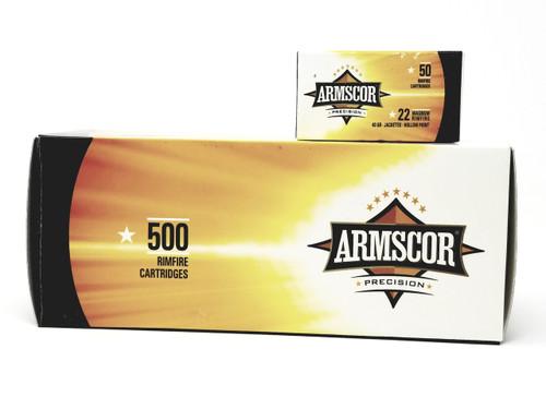 Armscor 22 WMR Ammunition Brass 40 Grain Jacketed Hollow Point 50 Round