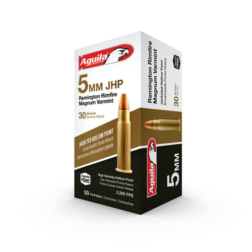 Aguila 5mm Rim Mag Ammunition 1B222406 30 Grain Jacketed Hollow Point 50 Rounds