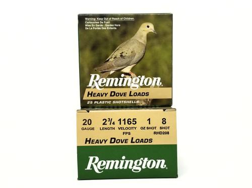 """Remington 20 Gauge Ammunition Heavy Dove Loads RHD208 2-3/4"""" 8 Shot 1oz 1165fps Case of 250 Rounds"""