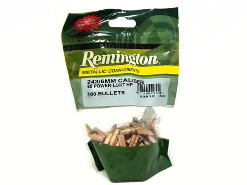 Remington 6mm (.243 Dia) Reloading Bullets RB243P1 80 Grain Power-Lokt Hollow Point 100 Pieces