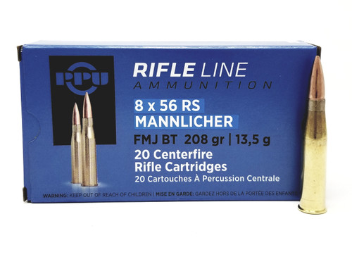 Prvi PPU 8x56mm Rimmed Hungarian (RS Manlicher) Ammunition PP856F 208 Grain Full Metal Jacket 20 Rounds