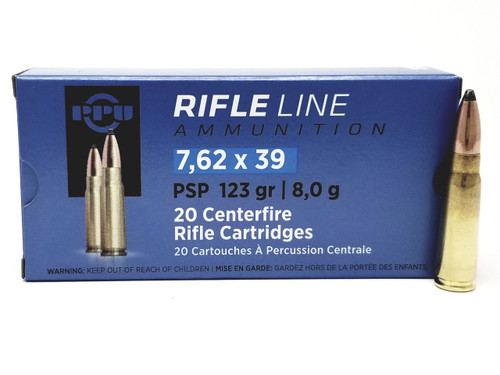 Prvi PPU 7.62x39mm Ammunition Rifle Line PP76239P 123 Grain Pointed Soft Point 20 Rounds