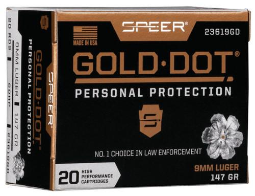 CCI Speer 9mm Ammunition Gold Dot 23619GD 147 Grain Gold Dot Hollow Point 20 Rounds
