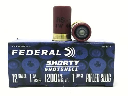 "Federal 12 Gauge Ammunition Shorty Shotshell SH129RS 1-3/4"" Rifled Slug 1oz 1200fps 10 Rounds"