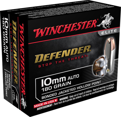Winchester 10mm Auto Ammunition Defender S10MMPDB 180 Grain Bonded Jacketed Hollow Point 20 Rounds