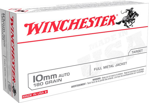 Winchester 10mm Auto Ammunition USA10MM 180 Grain Full Metal Jacket 50 Rounds