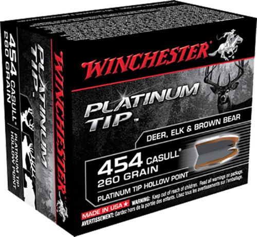 Winchester 454 Casull Ammunition Platinum Tip S454PTHP 260 Grain Platinum Tip Hollow Point 20 Rounds
