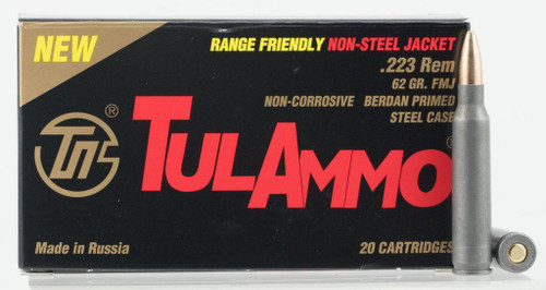 Tula 223 Rem Ammunition Range Friendly TA223625 62 Grain Full Metal Jacket 20 Rounds