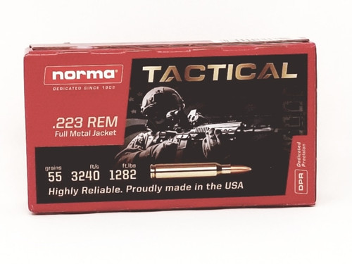 Norma 223 Rem Ammunition TAC 295040020 55 Grain Full Metal Jacket 20 Rounds