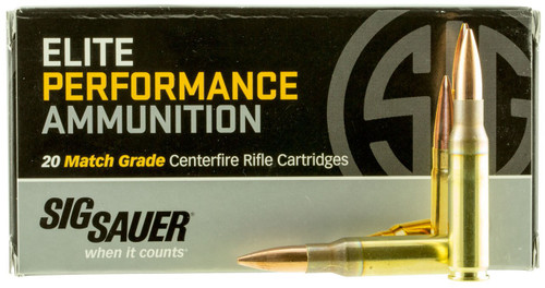 Sig Sauer 308 Win Ammunition Elite Match E308M120 168 Grain Open Tip Match 20 Rounds
