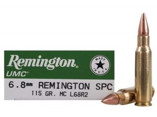 Remington 6.8mm Rem SPC Ammunition UMC L68R2 115 Grain Full Metal Jacket 20 Rounds