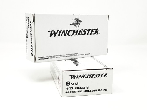 Winchester 9mm Ammunition The White Box Q4429 147 Grain Jacketed Hollow Point 50 Rounds