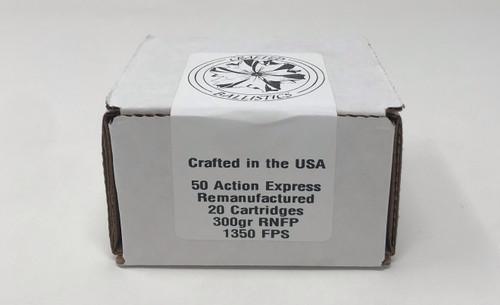 Crafted Ballistics 50 AE Ammunition Remanufactured 300 Grain Round Nose Flat Point 20 Rounds