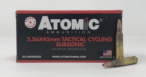 Atomic 5.56x45mm Ammunition Tactical Cycling Subsonic ATOM00408 112 Grain Round Nose Soft Point 50 Rounds