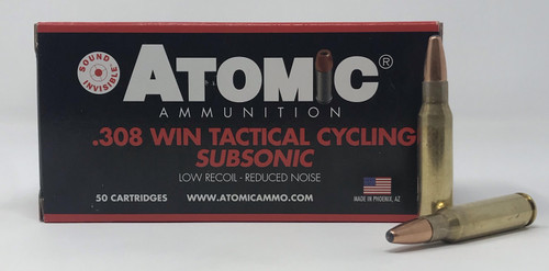 Atomic 308 Win Ammunition Tactical Cycling Subsonic ATOM00472 260 Grain Round Nose Soft Point 50 Rounds